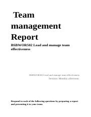 BSBWOR502 Lead and manage team effectiveness
