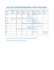 2016 FALL SEMSTER PERSONAL STUDY TIME TABLE.docx