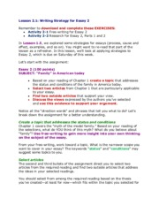 Lesson 2.1 Writing strategy for Essay 2