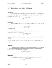 Calculus Notes 7E 2.7