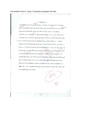 Intermediate French 2- Essay- Composition paragraph with edits