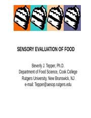 Lecture 16 Sensory Evaluation of Food