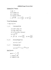 Exam 1 Formulas on Mechanical Vibrations and Control