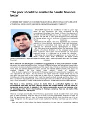 Raghuram Rajan on Financial Inclusion and high growth