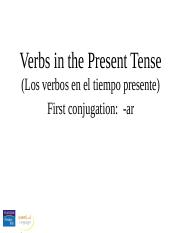 The present tense of regular -ar verbs