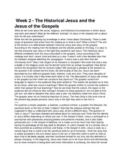 Week 2 - The Historical Jesus and the Jesus of the Gospels