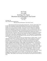 Mountains beyond mountains essay