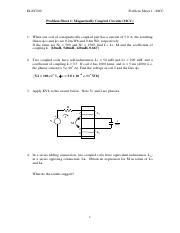 Magnetically coupled circuits problem sheet 1-0