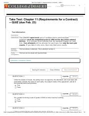 Take Test_ Chapter 11 (Requirements for a Contract) Retake