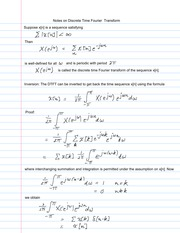 Notes on Discrete Time Fourier Transform