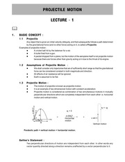 Projectile Motion LEC NOTES