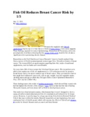 CPAP 3625 Fish Oil Reduces Breast Cancer Risk