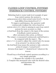 CLOSED LOOP CONTROL SYSTEMS