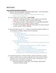 Lecture Notes 1 - General (basal) transcription mechanisms