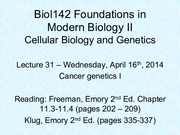 Lecture 31 Cancer Genetics I
