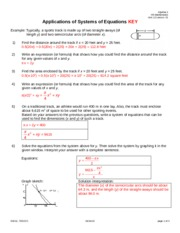 Applications of Systems of Equations Key