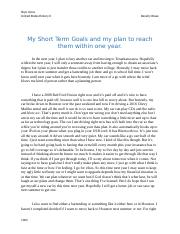 My Short Term Goals and my plan to reach them within one year Beverly Rowe