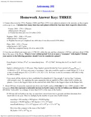 Astronomy 101_Homework Solutions on Planets and Asteroids