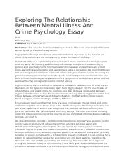 Exploring The Relationship Between Mental Illness And Crime Psychology Essay.docx