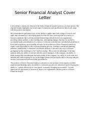Senior Financial Analyst Cover Letter Docx Senior Financial