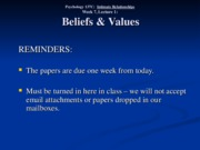 Wk. 7, Lect. 1 - Beliefs and Values