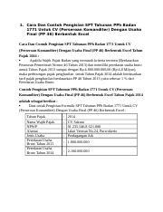 Berbentuk Excel Cara Dan Contoh Pengisian Spt Tahunan Pph Badan 1771 Untuk Pt Course Hero