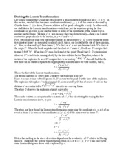 Deriving the Lorentz Transformations