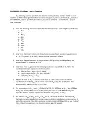 CHEM 1005 - Additional Practice Questions for Final Exam