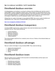 Distributed database overview