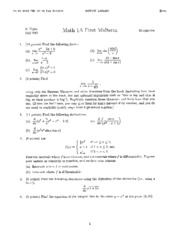 Math 1A - Fall 2001 - Vojta - Midterm 1