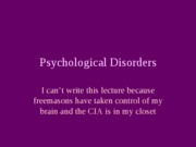 Psychological Disorders- 2