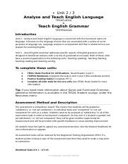 Unit 2  3 - TESATE401A  TESTEG402A - Analyse and Teach English Language  Teach English Grammar - 6th