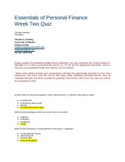 Week Two Quiz Essentials of Personal Finance FP 120 V 7-1.docx