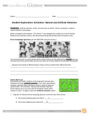 Student Exploration- Evolution- Natural and Artificial ...