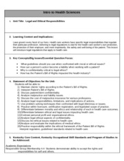 Legal and Ethical Responsibilities Unit Plan