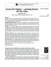 Lean Six Sigma – getting better all the time