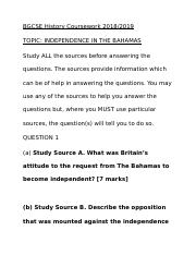 bahamas bgcse history coursework