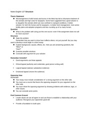 Notes English 107 Structure