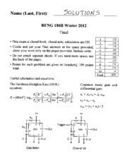 Final Exam Solutions 2012