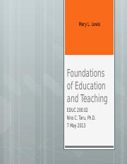 Foundations of Education and Teaching
