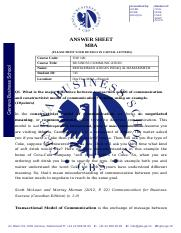 Business Communication - TOP 100 - DIGITAL_ANSWER SHEET