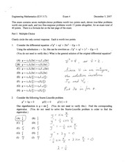 exam 4 fall 2007 solutions