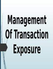 Management Of Transaction Exposure