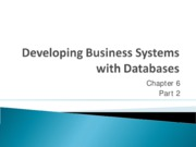 Chapter 6.2 - Developing Business Systems with Databases
