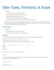 CS 101—Lab 3 data types, functions, and scope