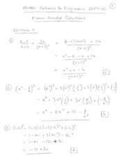 Exam 2009-10 Solutions Section A