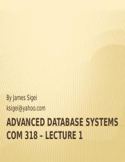 ADVANCED DATABASE SYSTEMS 1