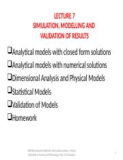 MSE 804 LECTURE 7 Simulation Modelling and Validation of Results.pptx
