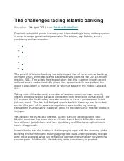 The challenges facing Islamic banking