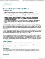 Radiation  Nuclear Radiation  Ionizing Radiation  Health Effects